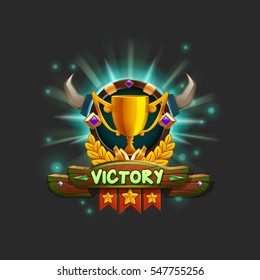 Example user interface of game receiving the achievement. Window victory with golden cup. Vector illustration.