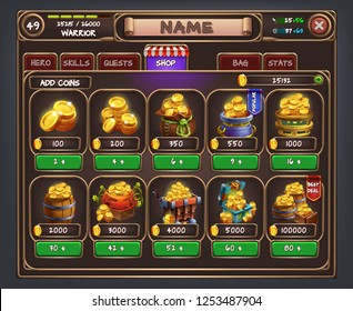 Example of user interface for rpg game. Window shop and game icons. Vector illustration.