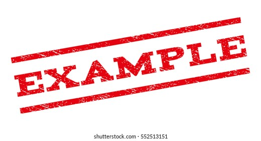 Example watermark stamp. Text tag between parallel lines with grunge design style. Rubber seal stamp with dirty texture. Vector red color ink imprint on a white background.