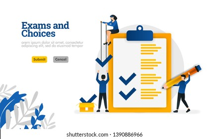 Exams and Choices Flat character for learning and survey consultants vector illustration concept can be use for, landing page, template, ui ux, web, mobile app, poster, banner, website, flyer, ads