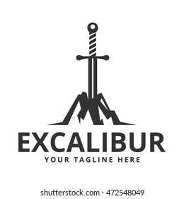 Excalibur (The sword in the stone) logo template.