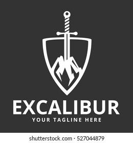 Excalibur (The sword in the stone) logo template for a security agency.