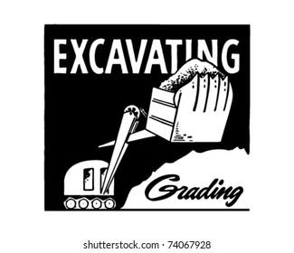 Excavating - Grading - Retro Ad Art Banner