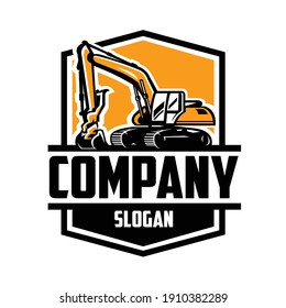 Excavating land clearing constructing ready made logo isolated vector EPS. Ready made logo template set vector isolated