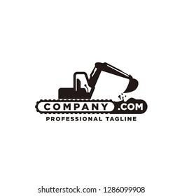 excavation company logo vector with color black