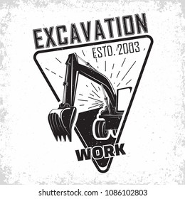Excavation work logo design, emblem of excavator or building machine rental organisation print stamps, constructing equipment, Heavy excavator machine with shovel typographyv emblem, Vector