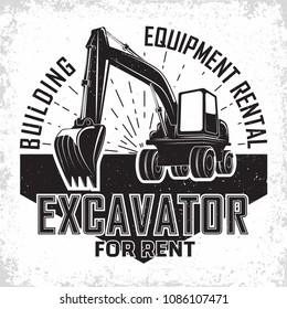 Excavation work logo design, emblem of excavator or building machine rental organisation print stamps, constructing equipment, Heavy excavator machine with shovel typographyv emblem, Vector