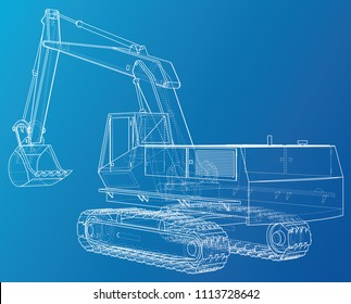 Excavator. Abstract drawing. Tracing illustration of 3d