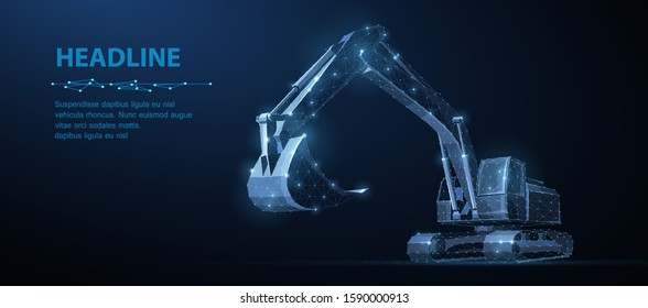 Excavator. Abstract vector 3d excavator isolated on blue background. Construction, building, heavy machine, industrial machinery, mining concept illustration