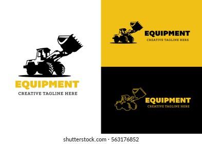 Excavator and backhoe logo set