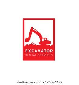 Excavator and backhoe logo Template