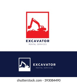 Excavator and backhoe logo Template