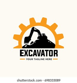 Excavator and backhoe logo template.