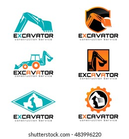 Excavator and backhoe logo vector illustration set design