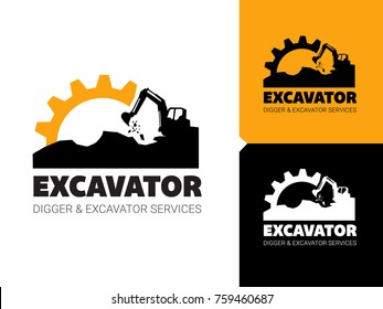Excavator and backhoe logo vector illustration