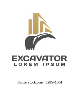 Excavator with Building Vector Logo Template. Excavator logo. Excavator isolated. Digger, construction, backhoe, construction business icon. Construction equipment design elements.