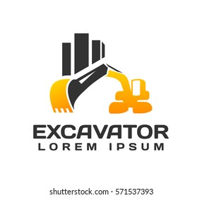 Excavator With Buildings Vector Logo Template. Excavator logo. Excavator isolated. Digger, construction, backhoe, construction business icon. Construction equipment design elements.