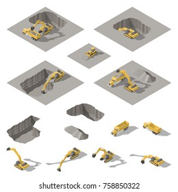 Excavator and bulldozer digs a pit on the construction site isometric icon set vector graphic illustration