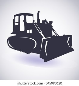 Excavator (bulldozer, grader) isolated. Vector icon.  Heavy earth moving road construction equipment. Sketch in black lines