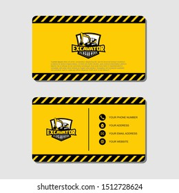 Excavator and business card vector template