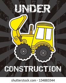 excavator cartoon over black background. vector illustration