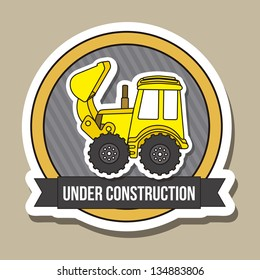 excavator cartoon over brown background. vector illustration