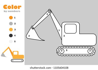 excavator cartoon style color by 260nw