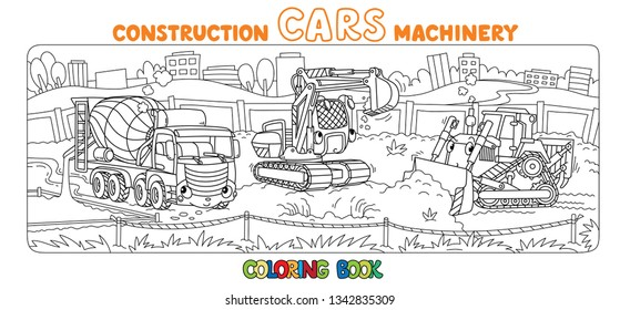 Excavator, concrete mixer truck and grader coloring book set for kids. Small funny vector cute cars with eyes and mouth. Children vector illustration. Heavy machinery
