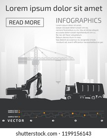 Excavator, construction boom cranes and truck on the background of buildings.