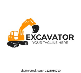 Excavator, construction and industrial machinery, transport and construction, logo template. Backhoe, digger and crawler excavator in working, vector design, illustration