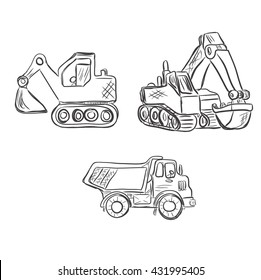 Excavator, construction, lorry, sketch style