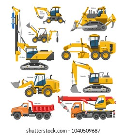 Excavator for construction vector digger or bulldozer excavating with shovel and excavation machinery industry illustration set of constructive vehicles and digging machine isolated on background