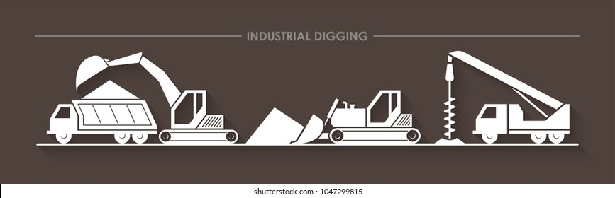 Excavator, digger, dozer (bulldozer), auger truck, digger derrick and truck silhouettes. Buildings background flat logo, digging process illustrating, building logo icon. Flat style.