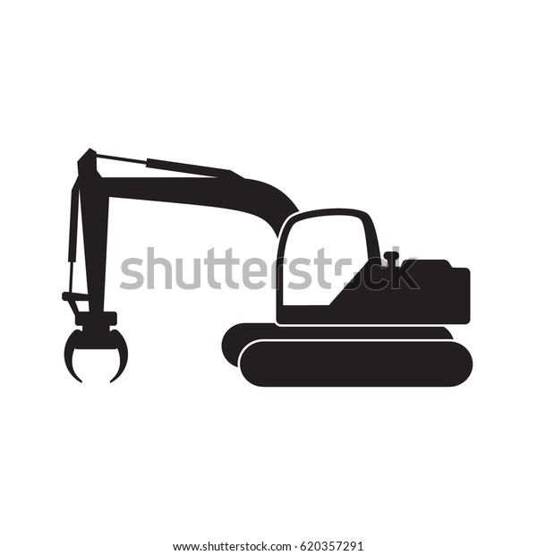 Excavator Digger Having Grabber Installed Black Stock Vector