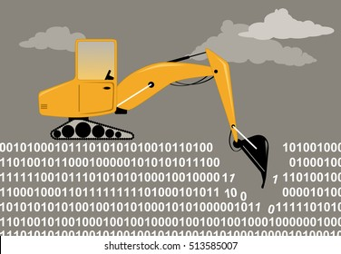 An excavator digging through a binary code as a metaphor for data mining, EPS 8 vector illustration