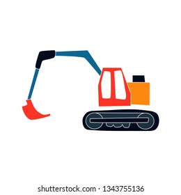 Excavator Dipper Backhoe Flat Vector Illustration. Cartoon Image. Isolated on White.
