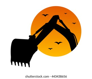excavator dusk excavation heavy machinery builder image vector icon logo