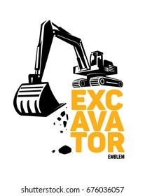 Excavator emblem. Vector illustration