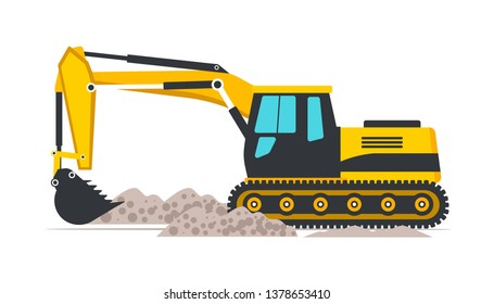 Excavator flat vector illustration. Road works, building construction. Professional heavy machinery isolated design element. Yellow industrial backhoe digging ground with bucket cartoon clipart