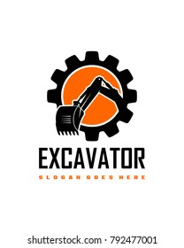 Excavator gear logo template vector