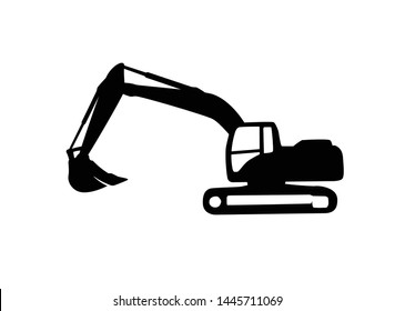 Excavator heavy equipment template vector for construction company. Excavator silhouette template vector.Creative excavator illustration for designs template.