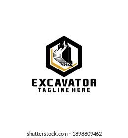 Excavator Heavy Industrial Equipment Logo Design Template Vector