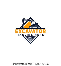 Excavator Heavy Industrial Equipment Logo Design Template