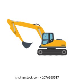Excavator icon equipment machine. Isolated excavate shovel bulldozer loader scoop transportation dig. Illustration vector vehicle. Digger construction power machinery mover symbol work.