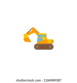 Excavator icon flat element. Vector illustration of excavator icon flat isolated on clean background for your web mobile app logo design.