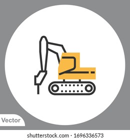 Excavator icon sign vector,Symbol, logo illustration for web and mobile