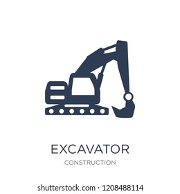 Excavator icon. Trendy flat vector Excavator icon on white background from Construction collection, vector illustration can be use for web and mobile, eps10