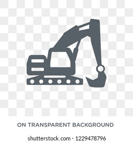 Excavator icon. Trendy flat vector Excavator icon on transparent background from Construction collection.