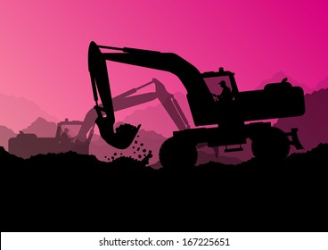 Excavator loaders, tractors and workers digging at industrial construction site vector background illustration