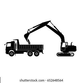 Excavator loads dump truck Vector